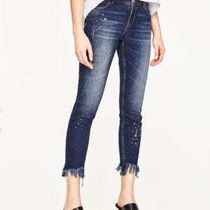 Zara Skinny jeans with Fringe hem